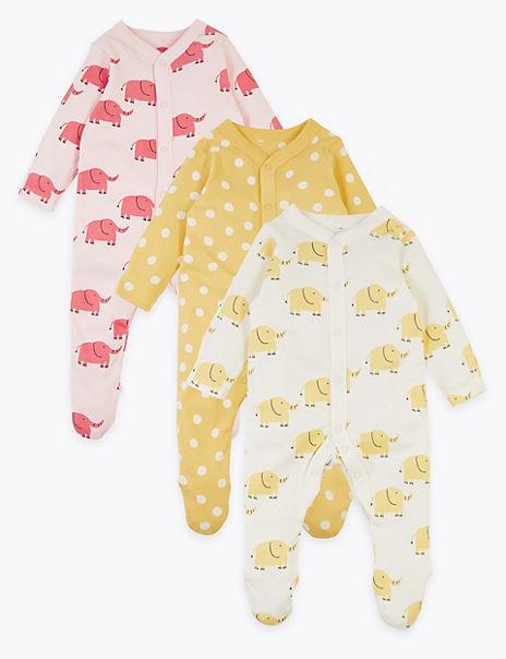 3 Pack Organic Cotton Sleepsuits (6½lbs-3 Yrs)