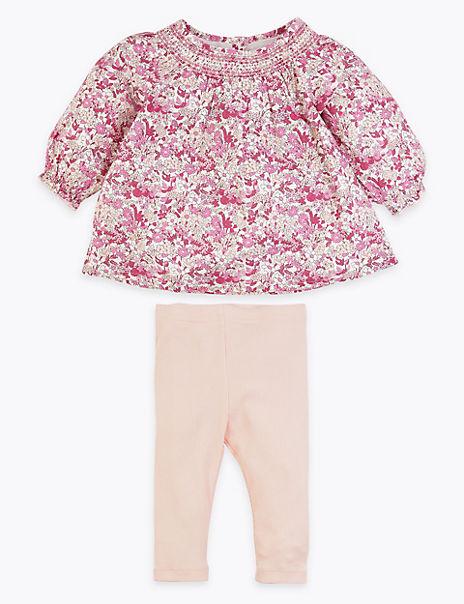 2 Piece Cotton Rich Floral Woven Outfit