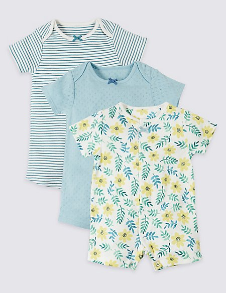 3 Pack Organic Cotton Rompers