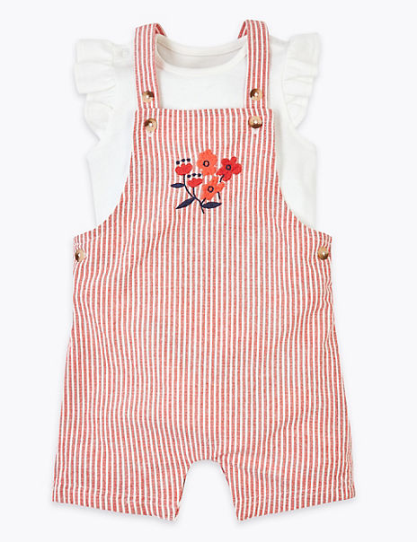 2 Piece Pure Cotton Dungarees Outfit (0-3 Years)