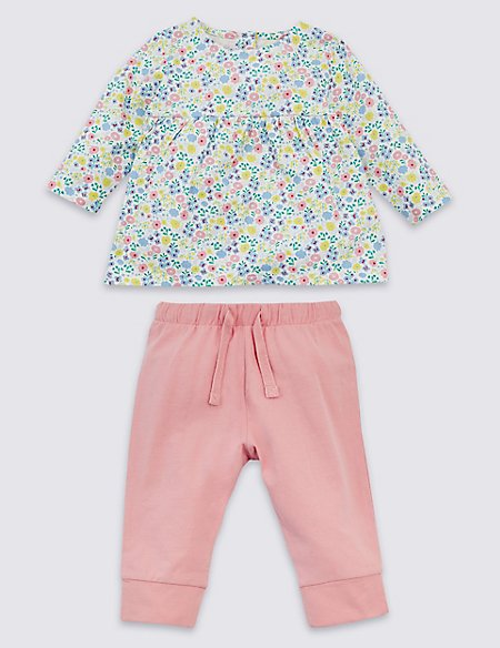 2 Piece Organic Cotton Floral Top & Bottom Outfit