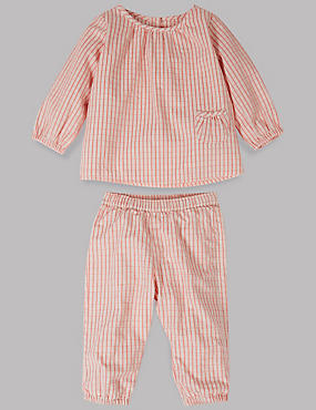 2 Piece Woven Checked Top & Bottom Outfit
