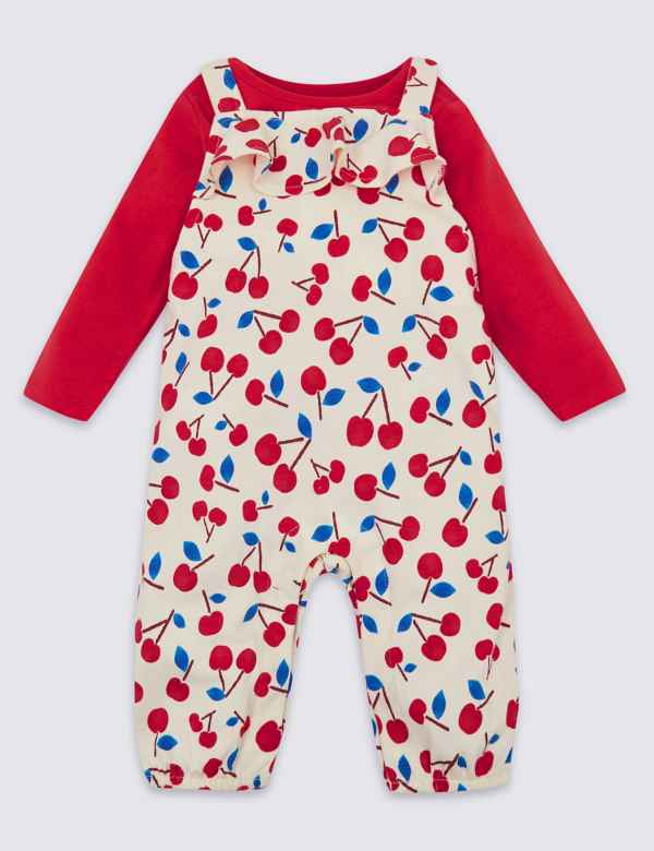 2 Piece Cherry Dungarees & Bodysuit Outfit