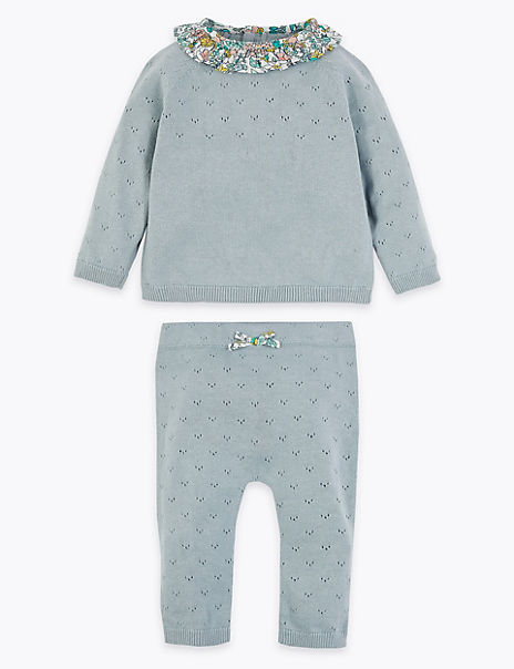 2 Piece Cotton Pointelle Knitted Outfit
