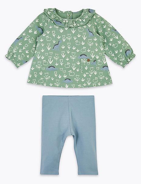 2 Piece Cotton Rich Dinosaur Outfit