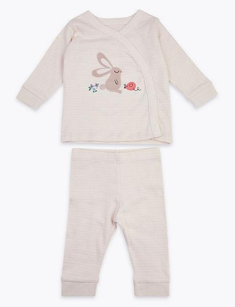 2 Piece Cotton Rabbit Applique Outfit