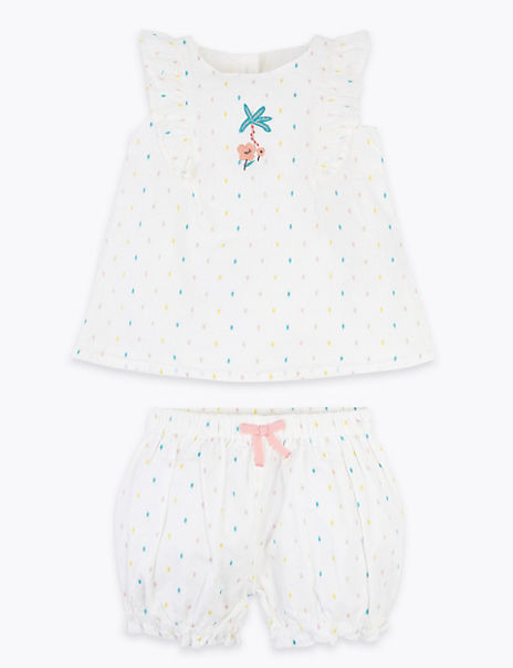 2 Piece Cotton Rich Spotted Outfit (0 - 3 Years)