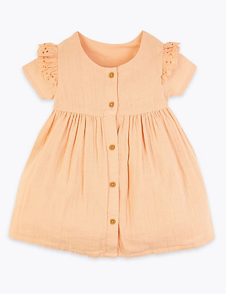 Pure Cotton Woven Dress (0-3 Years)