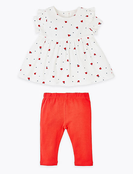 2 Piece Cotton Rich Floral Outfit (0-3 Years)