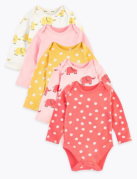 5 Pack Organic Cotton Patterned Bodysuits