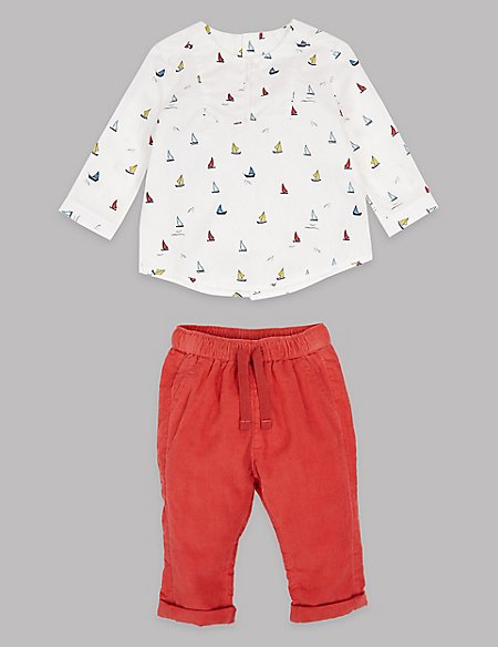 2 Piece Pure Cotton Shirt & Trousers Outfit