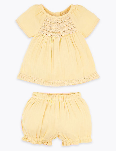 2 Piece Pure Cotton Crochet Outfit (0-3 Years)