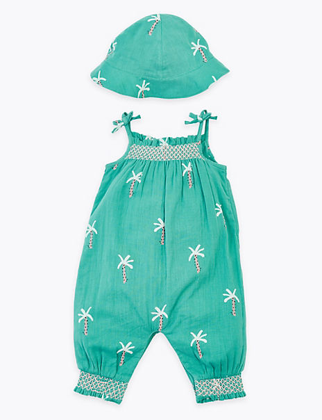 2 Piece Pure Cotton Palm Tree Romper Outfit (0-3 Yrs)