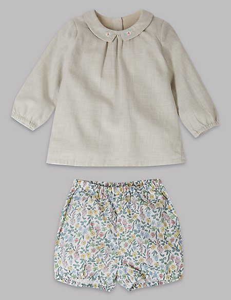 2 Piece Woven Top & Shorts Outfit