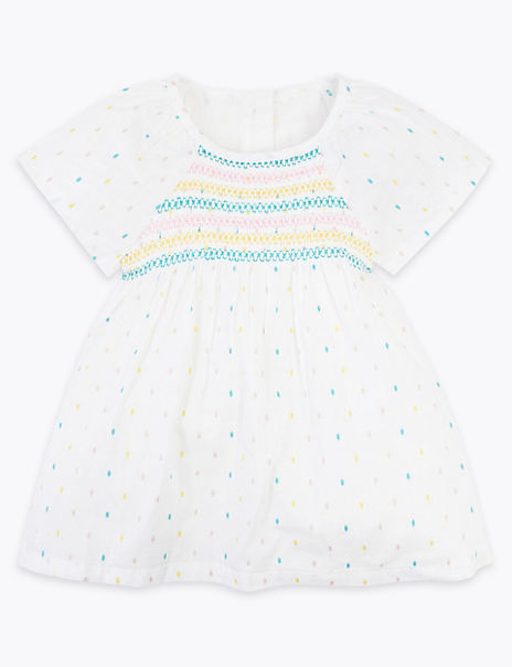 Cotton Rich Spotted Crochet Dress (0-3 Years)