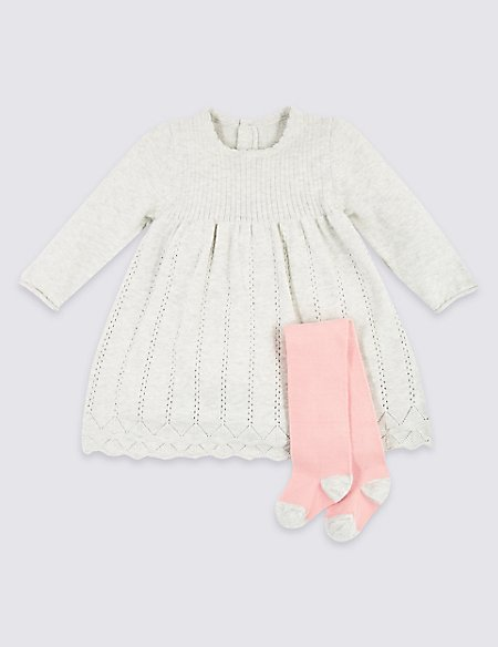 2 Piece Pointelle Knit Dress with Tights
