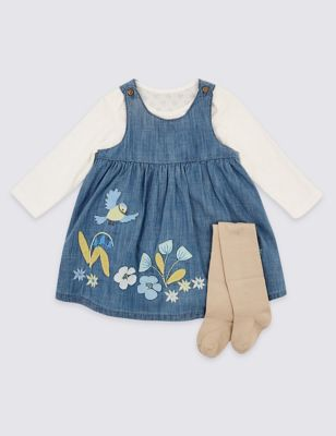 36400380ef1a 3 Piece Pinafore & Bodysuit with Tights Outfit £20.00 - £21.00