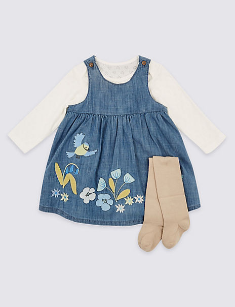 3 Piece Pinafore & Bodysuit with Tights Outfit