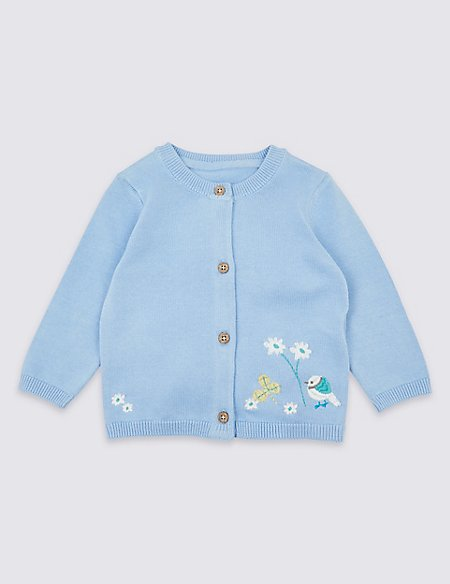Pure Cotton Embroidered Cardigan