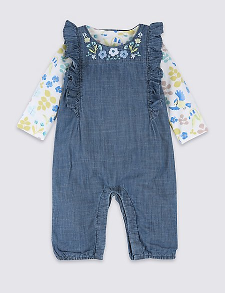 2 Piece Embroidered Dungarees & Bodysuit Outfit