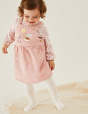 3pc Cotton Cord Appliqué Dress Outfit (0-3 Yrs)