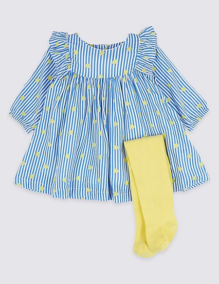 2 Piece Woven Dress with Tights