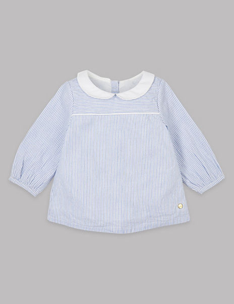 Pure Cotton Striped Woven Top