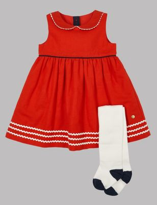 abc05acdf 2 Piece Woven Dress with Tights £14.00 - £15.00