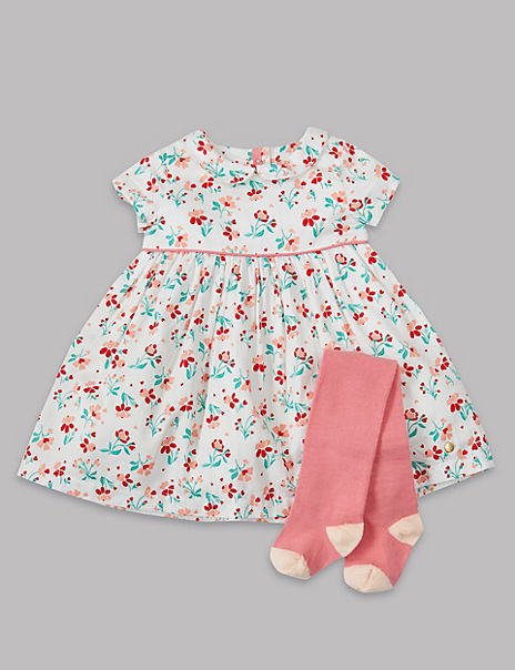 2 Piece Floral Woven Dress with Tights