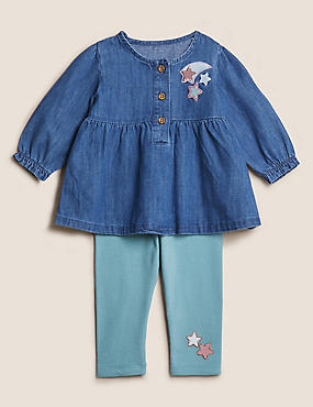 2pc Cotton Chambray Embroidered Star Outfit (0-3 Yrs)