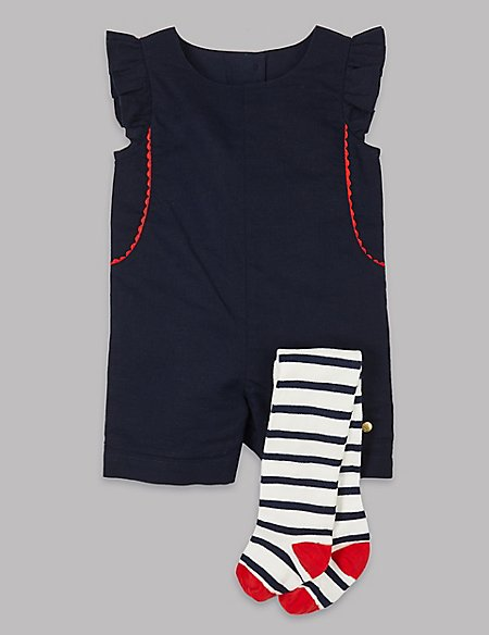2 Piece Frill Sleeve Romper with Tights