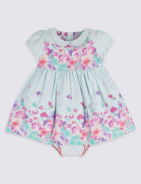 2 Piece Border Print Dress with Knickers