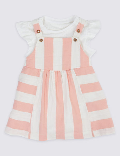 2 Piece Striped Pinafore with Bodysuit