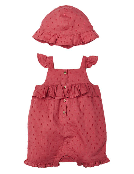 2 Piece Pure Cotton Woven Romper with Hat