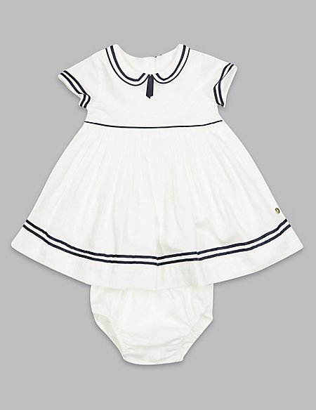 2 Piece Pure Cotton Woven Dress and Knicker