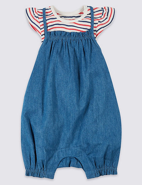 2 Piece Chambray Romper with Bodysuit
