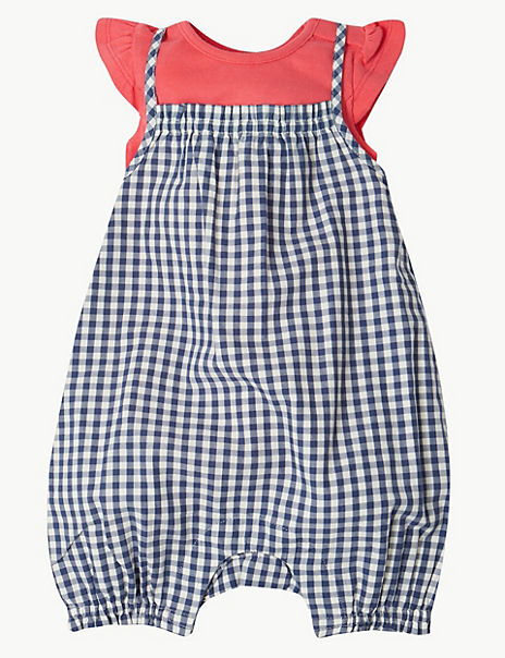 2 Piece Gingham Romper with Bodysuit