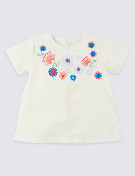 Pure Cotton Embroidered Jersey Top