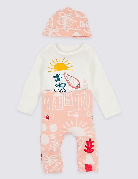 3 Piece Jersey Bodysuit & Trousers with Hat