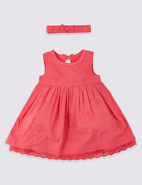 2 Piece Embroidered Dress with Headband