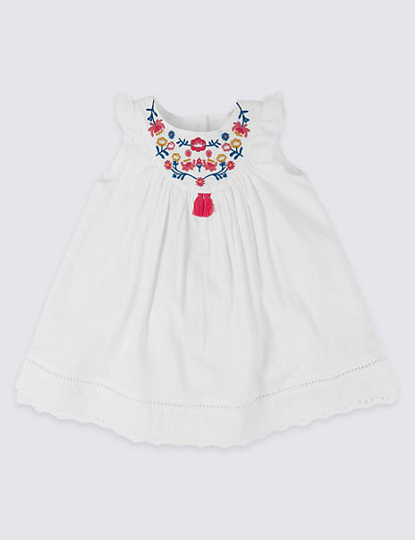 Pure Cotton Embroidered Panel Dress