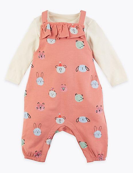 2 Piece Animal Print Dungaree Outfit