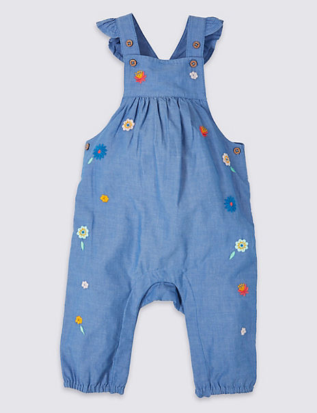 Pure Cotton Embroidered Dungarees