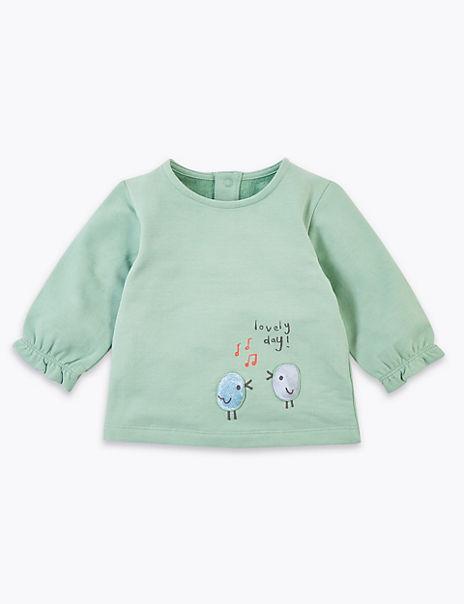 Cotton Rich Bird Design Sweatshirt