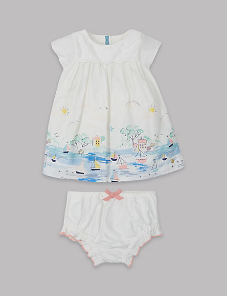 2 Piece Border Dress with Knickers