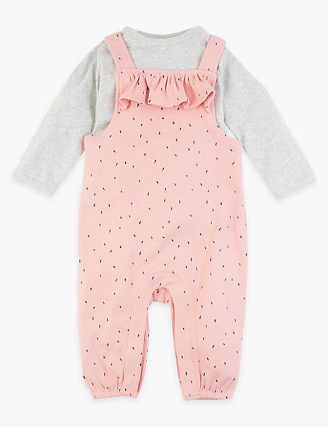 2 Piece Cotton Frill Spotted Dungaree Outfit