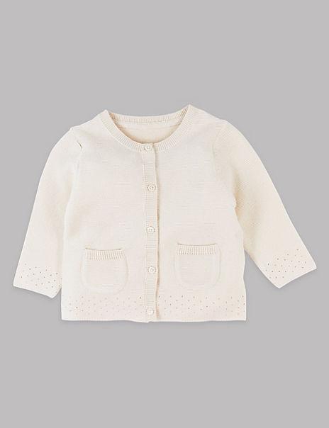 Pure Cotton Pointelle Cardigan