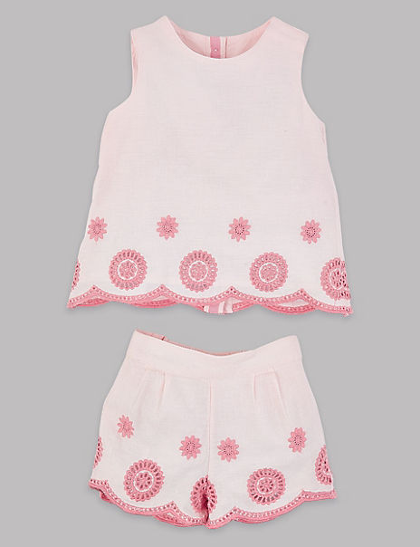 2 Piece Embroidered Top & Shorts Outfit