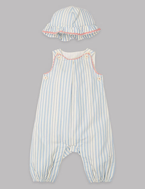 2 Piece Striped Romper with Hat