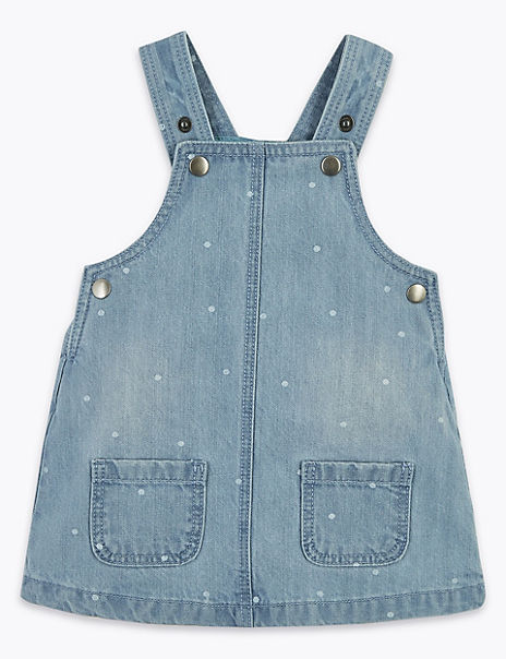 Cotton Denim Spotted Pinafore
